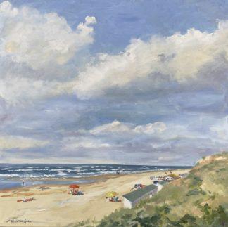 Spring at sea, lente aan zee, olieverfschilderij, oilpainting, zeegezicht, strandgezicht, duingezicht, zee, strand, Heleen van Lynden