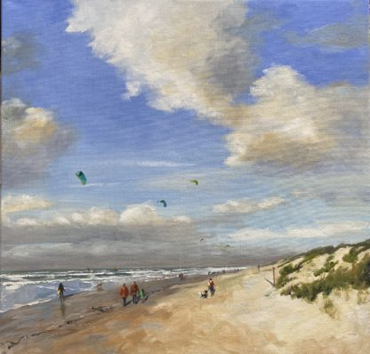 on the beach, Summer at the beach, beach, seascape, summer, oilpainting, Heleen van Lynden