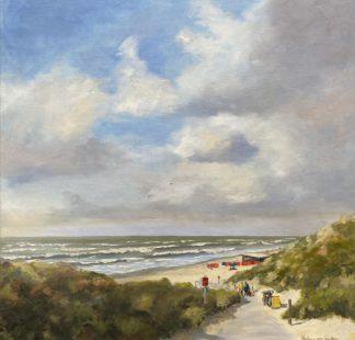 Orange windshields, Summer at the beach, beach, seascape, summer, oilpainting, Heleen van Lynden