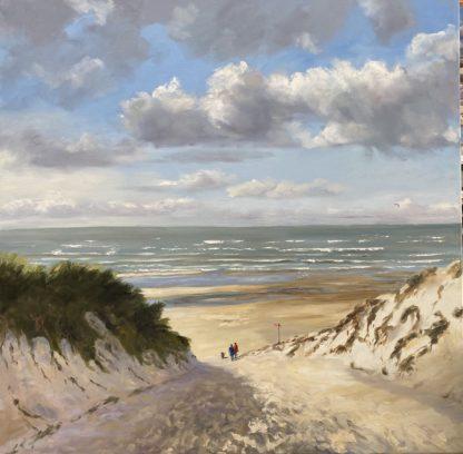 Summer, beachentrance, beach, dunes, sea, dutch coast, oilpainting, seascape, Heleen van Lynden