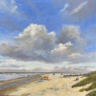 Summer at the beach, beach, seascape, summer, oilpainting, Heleen van Lynden